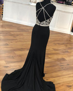 Gorgeous Mermaid Black Long Evening Dress with Slit