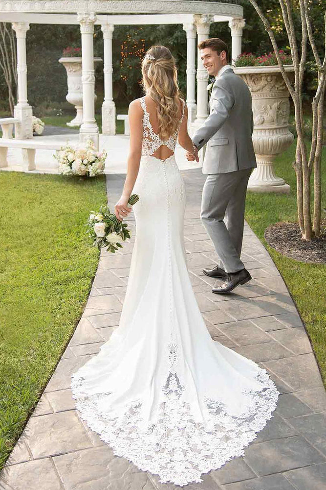 Lace Straps Court Train Mermaid White Wedding Dress