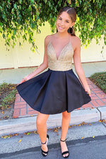 Halter A-Line Gold Top Homecoming Dress