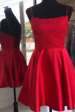 Lace-Up Little Red Homecoming Dress