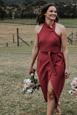 A-line Halter Tea-length Dark Coral Bridesmaid Dress with Belt