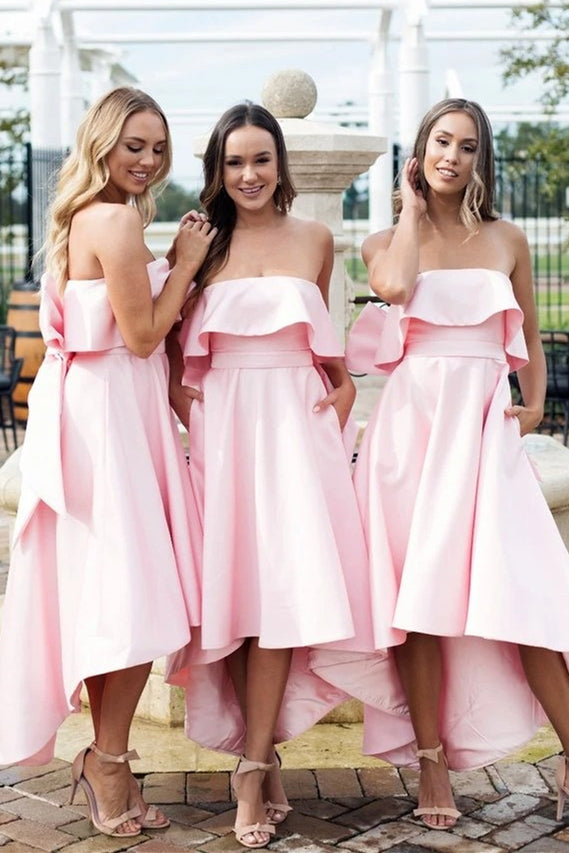 Elegant High-Low Strapless Pink Bridesmaid Dress with Bowknot