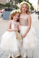 Cute Ball Gown Gold and Ivory Flower Girl Dress