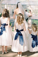 A-line White Flower Girl Dress with Navy Blue Ribbon