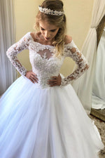 Princess Long Sleeves Lace-Up Back White Wedding Dress with Lace