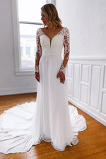 Long Sleeves Sheath A-line White Wedding Dress with Lace