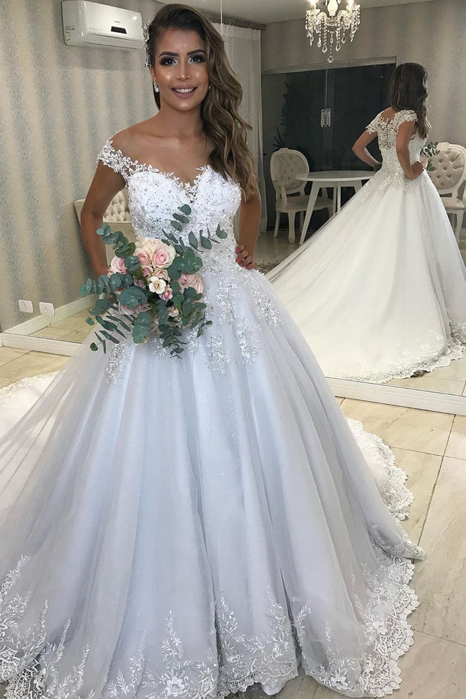 Princess Long A-line White Wedding Dress with Lace