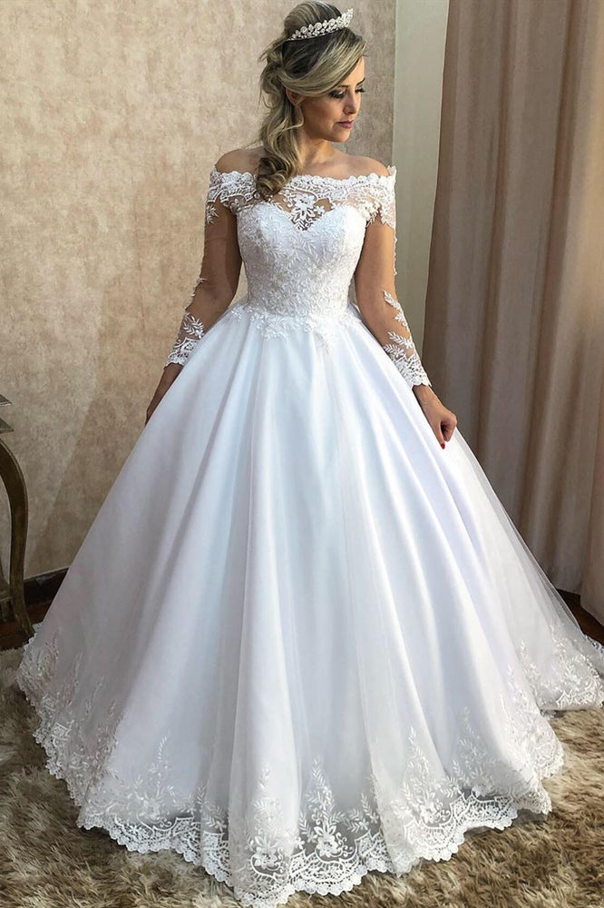 Long Sleeves A-line Off Shoulder White Wedding Dress with Lace