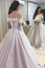 Princess Illusion Neck A-line Pink Wedding Dress with Lace