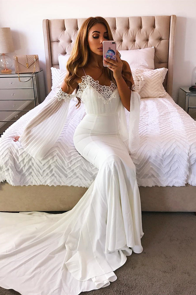 Long Mermaid Cold Sleeves Ivory Weeding Dress with Lace