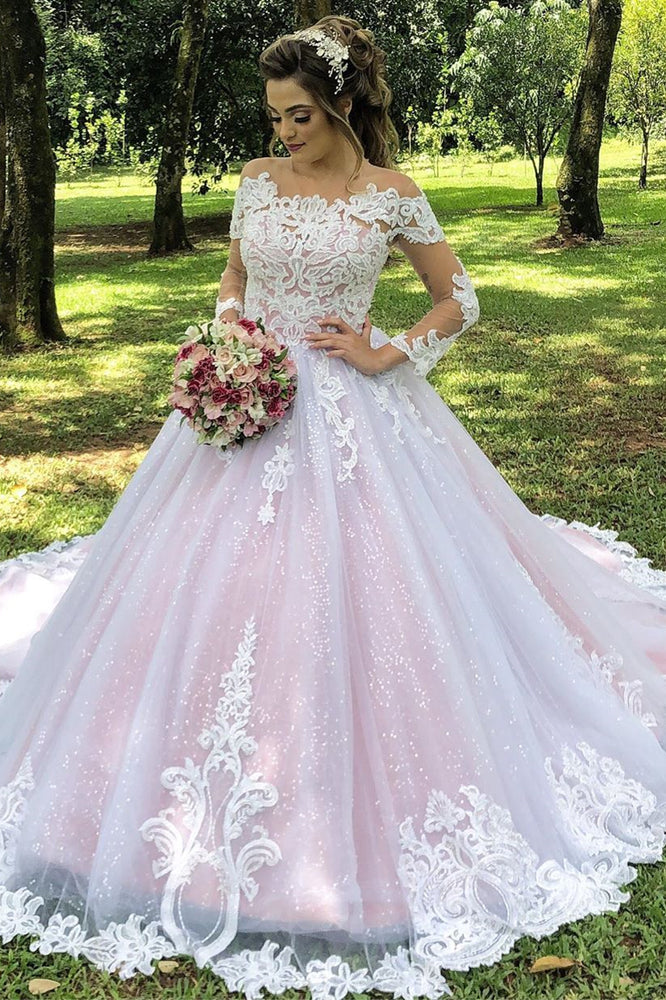 Princess Long Sleeves Illusion Neck A-line Pink Wedding Dress with Lace