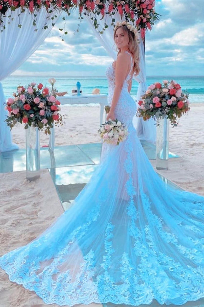 Mermaid Spaghetti Strap Light Blue Wedding Dress with Chapel Train
