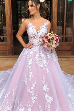 Princess Long V Neck A-line Light Lavender Wedding Dress with Lace