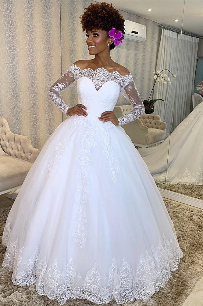 Princess Long Sleeves Off Shoulder A-line White Wedding Dress