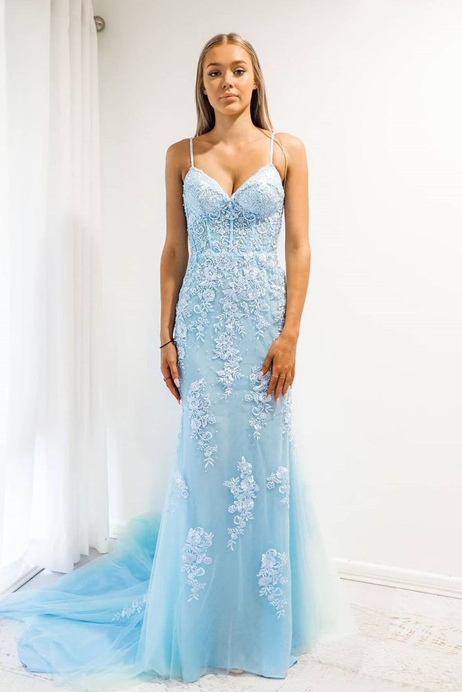 Baby Blue Mermaid Spaghetti Strap Prom Dress with Lace