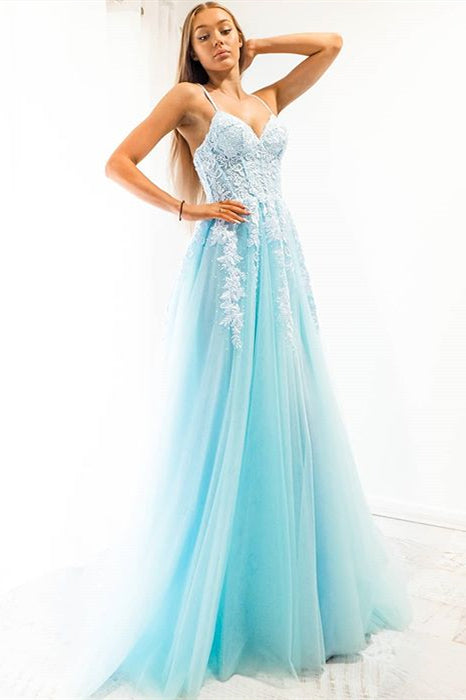 Blue A-line Spaghetti Strap Long Prom Dress with Appliques