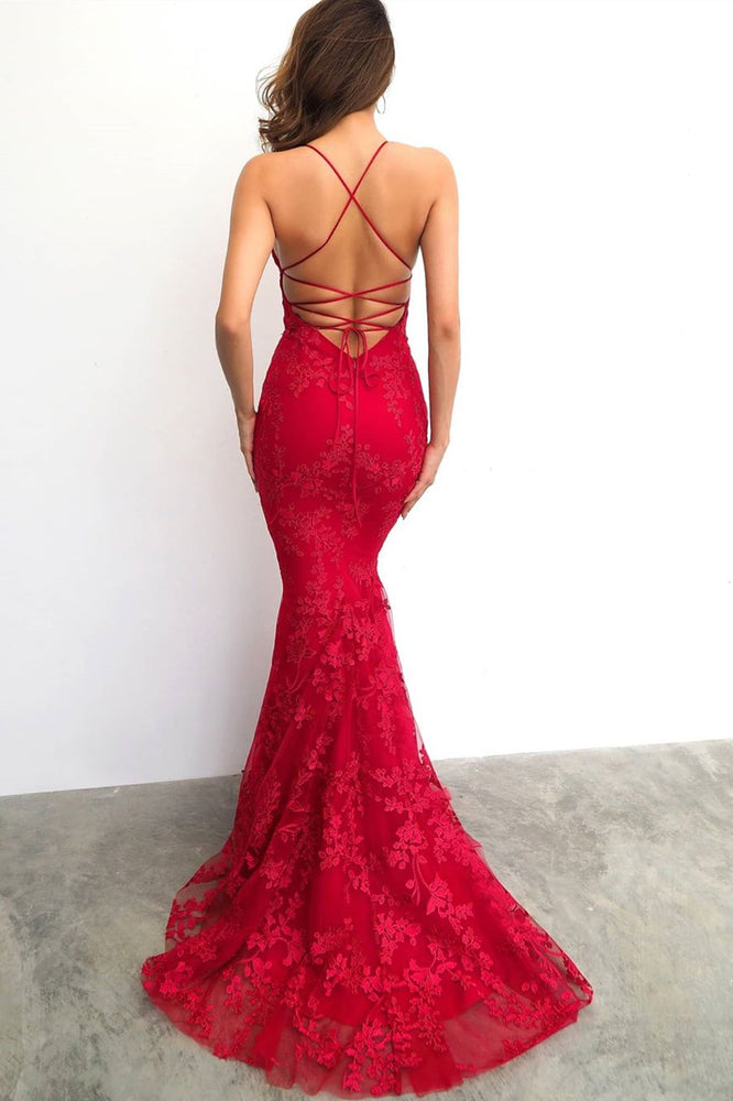 Red Mermaid Lace-Up Back Long Evening Dress with Lace Appliques