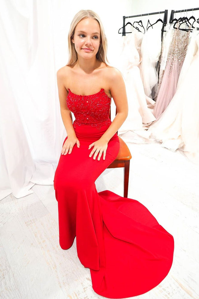 Red Mermaid Strapless Long Prom Dress with Lace-Up Back
