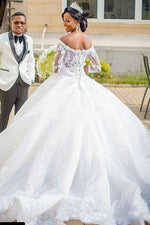 Princess Long Off Shoulder A-line White Wedding Dress with Appliques
