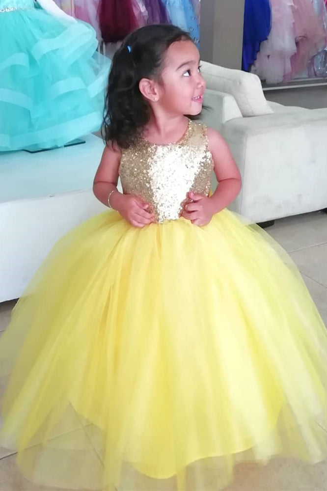 Cute A-line Yellow Flower Girl Dress with Bowknot