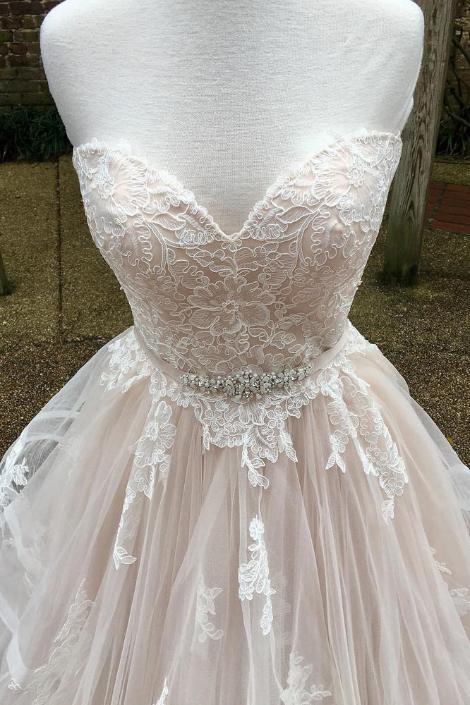 Long Cascading Ruffles A-line Sweetheart Ivory Wedding Dress with Lace
