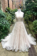 Princess Long A-line Square Neck Ivory Wedding Dress with Lace