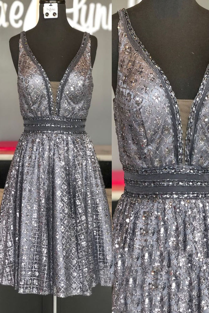 Sparkling Sequined V-Neck Silver Homecoming Dress