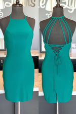 Halter Tight Green Homecoming Dress with Open Back