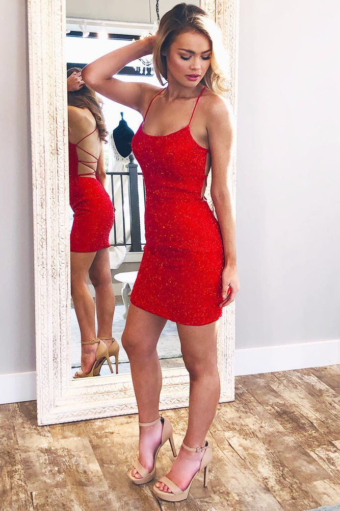 Spaghetti Straps Red Homecoming Dress with Criss Cross Back
