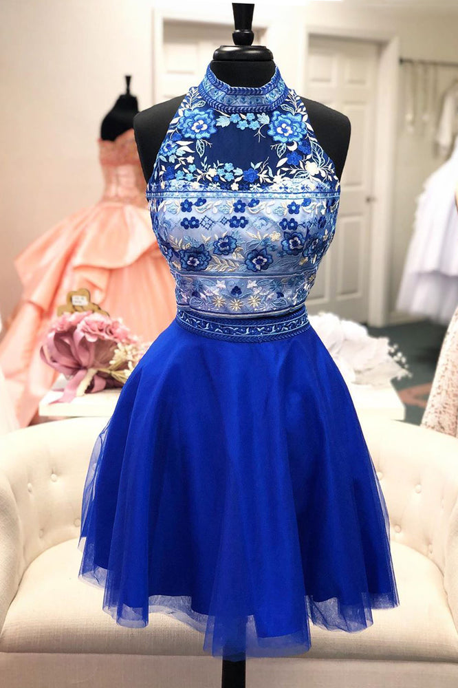 Halter Royal Blue Two Piece Floral Homecoming Dress