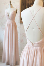 Simple Pink Chiffon Long Prom Dress with Cross Back