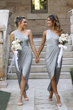 One Shoulder Asymmetrical Silver Bridesmaid Dress