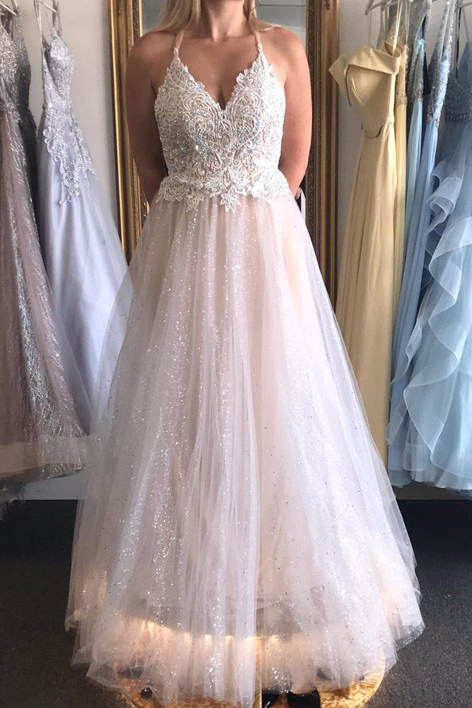 Glitter Halter Lace Top Wedding Dress with Criss Cross Back