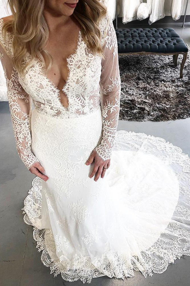 Long Sleeves Mermaid V-Neck Ivory Wedding Dress with Lace