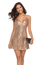 Sexy Gold Short Party Dress with Open Back
