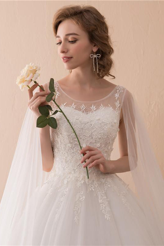 Tulle Vintage Wedding Dress with Cape Clock