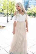 Long A-line Cold Sleeves White and Beige Wedding Dress