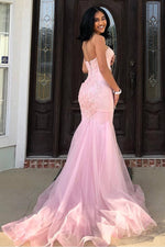 Sweetheart Mermaid Tulle Pink Long Prom Dress