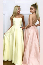 Spaghetti Straps A-Line Long Daffodil Prom dress with Criss Back