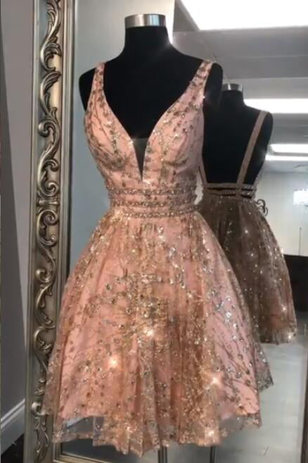 Sparkling Sequined Rose Gold Homecoming Dress
