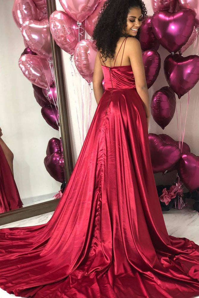 Simple V-Neck Red Long Prom Dress with Slit