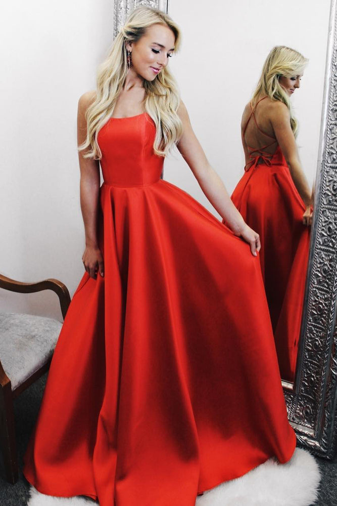 Backless Long Red Satin Prom Dress