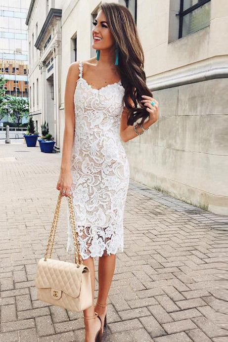 Straps Lace and Mesh Knee Length White Party Dress
