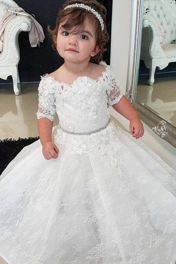 Half Sleeves Scalloped-Edge Flower Girl Dress with Lace