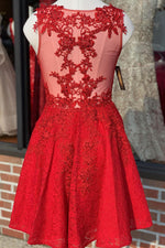 V-Neck Lace Red Homeocming Dress with Mesh