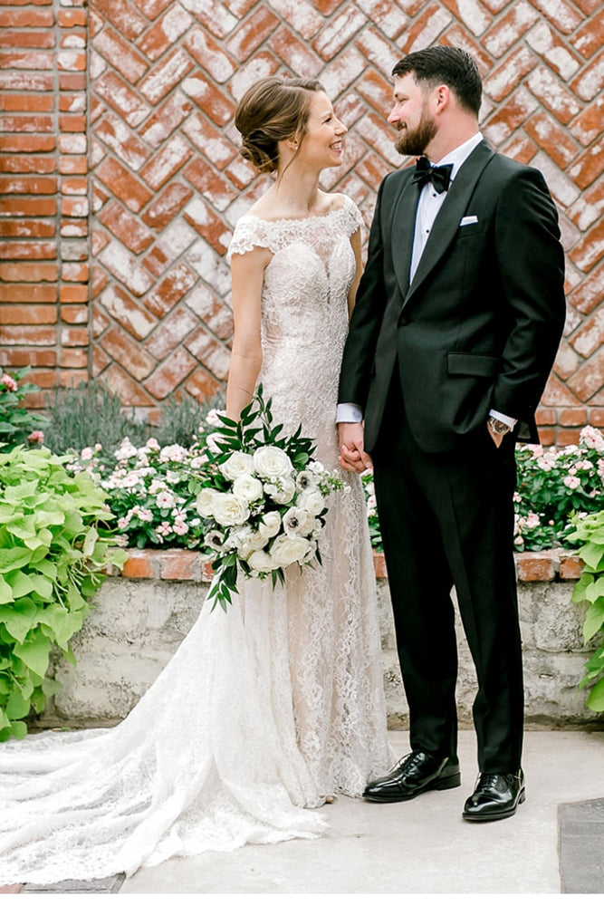 Elegant Sheer Back Cap Sleeves Ivory Wedding Dress