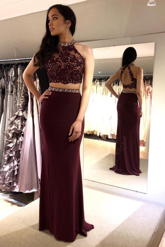 Two Piece Mermaid Beaded Burgundy Long Prom Dress with Lace Top