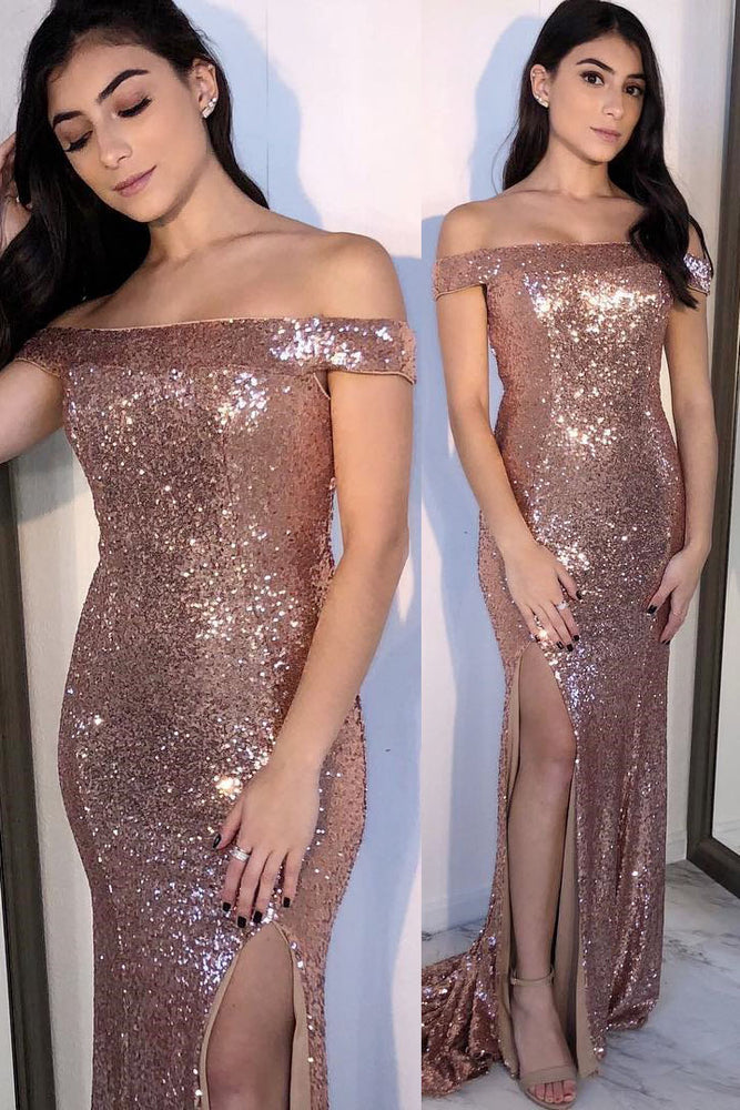 Off Shoulder Rose Gold Sequin Evening Dress with Slit