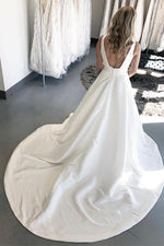 Long Open Back A-line V-Neck White Wedding Dress with Pockets