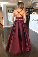 Two Piece Criss Cross Back Maroon Long prom Dress with Lace Top